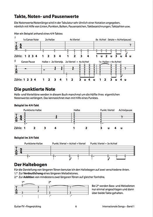Takte und Noten - Fingerpicking1
